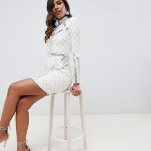 nwt asos STARLET $400 embellished mini dress us 2